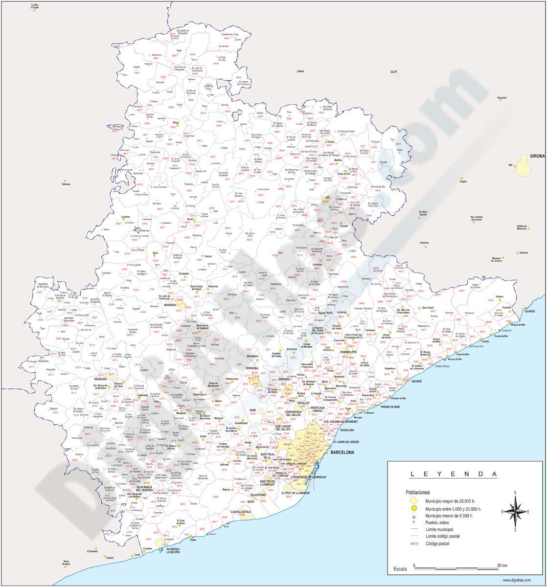 Maps of Spanish Provinces with Postal Codes