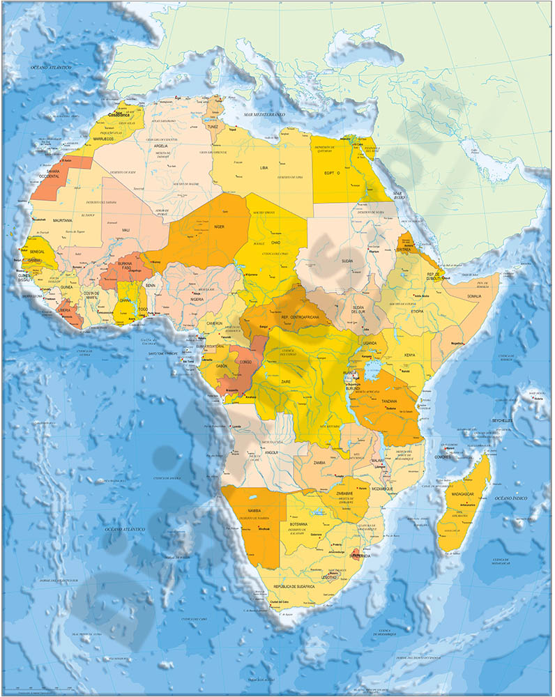 Africa political and geographical map