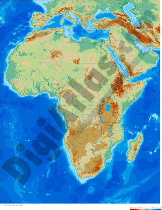 Africa physical vectorized-relief map