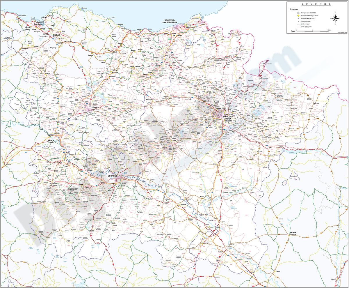 Álava, Navarra, Guipúzcoa y La rioja - mapa con Códigos Postales y carreteras