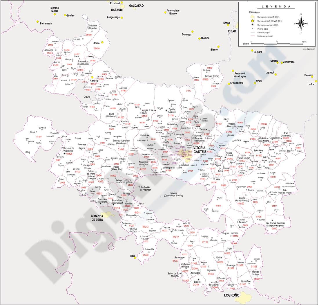 Alava (Araba) - mapa provincial con municipios y Códigos Postales