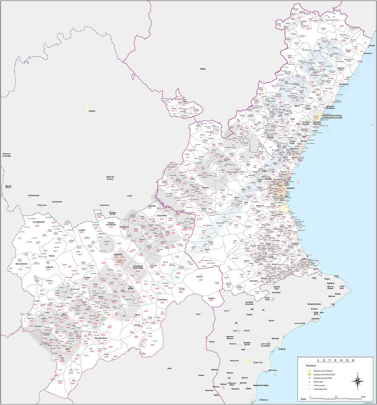 Mapa de códigos postales y municipios de las provincias de Albacete, Valencia y Castellon