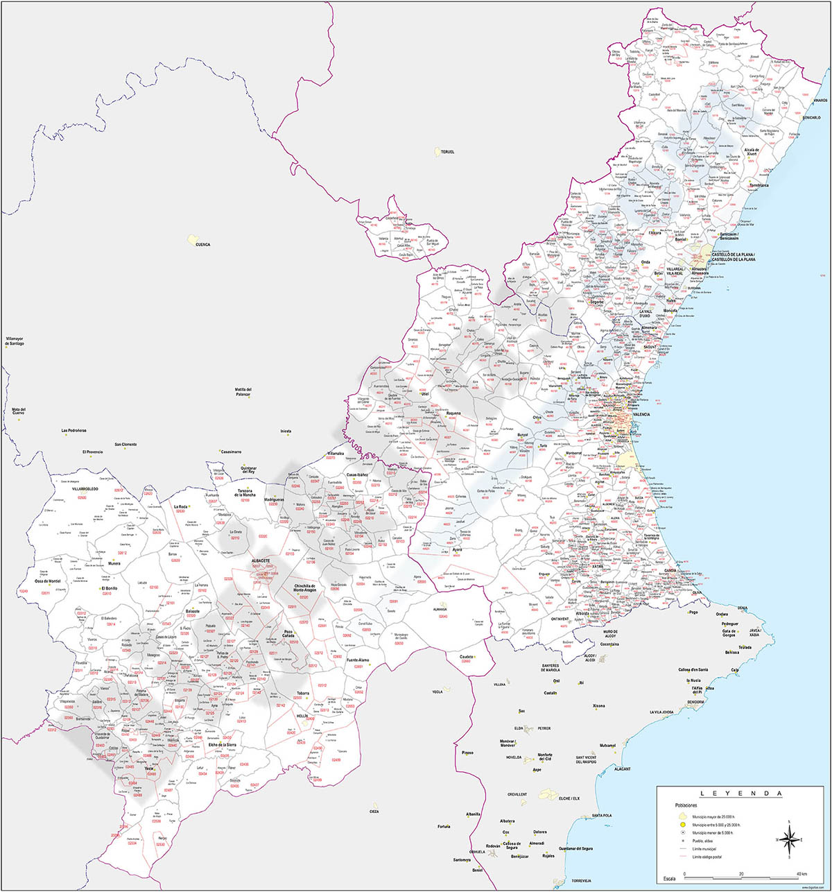 Map of Albacete, Valencia and Castellon provinces with municipalities and postal codes