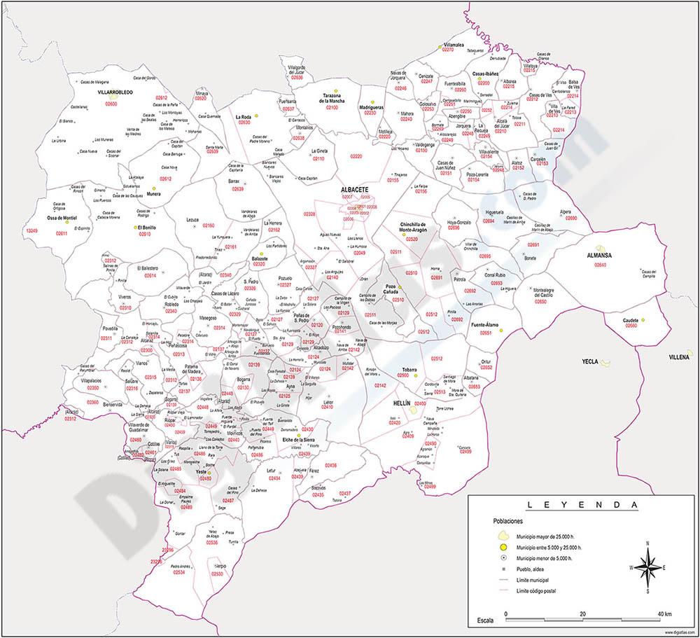 Albacete - mapa provincial con municipios y Códigos Postales