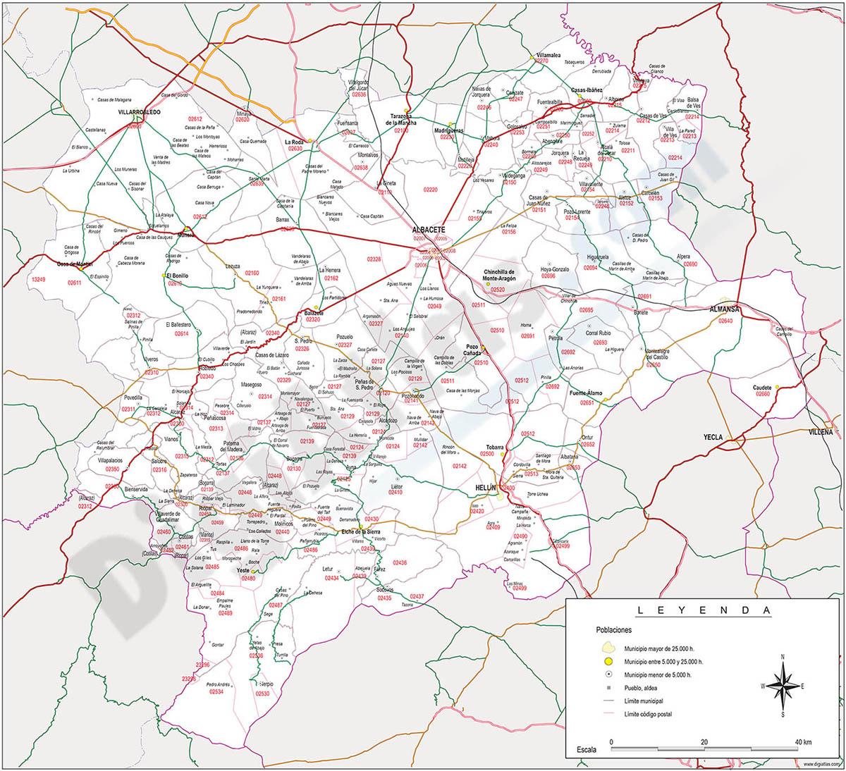 Albacete - mapa provincial con municipios, Códigos Postales y carreteras