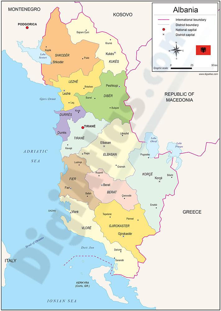 Mapa de Albania