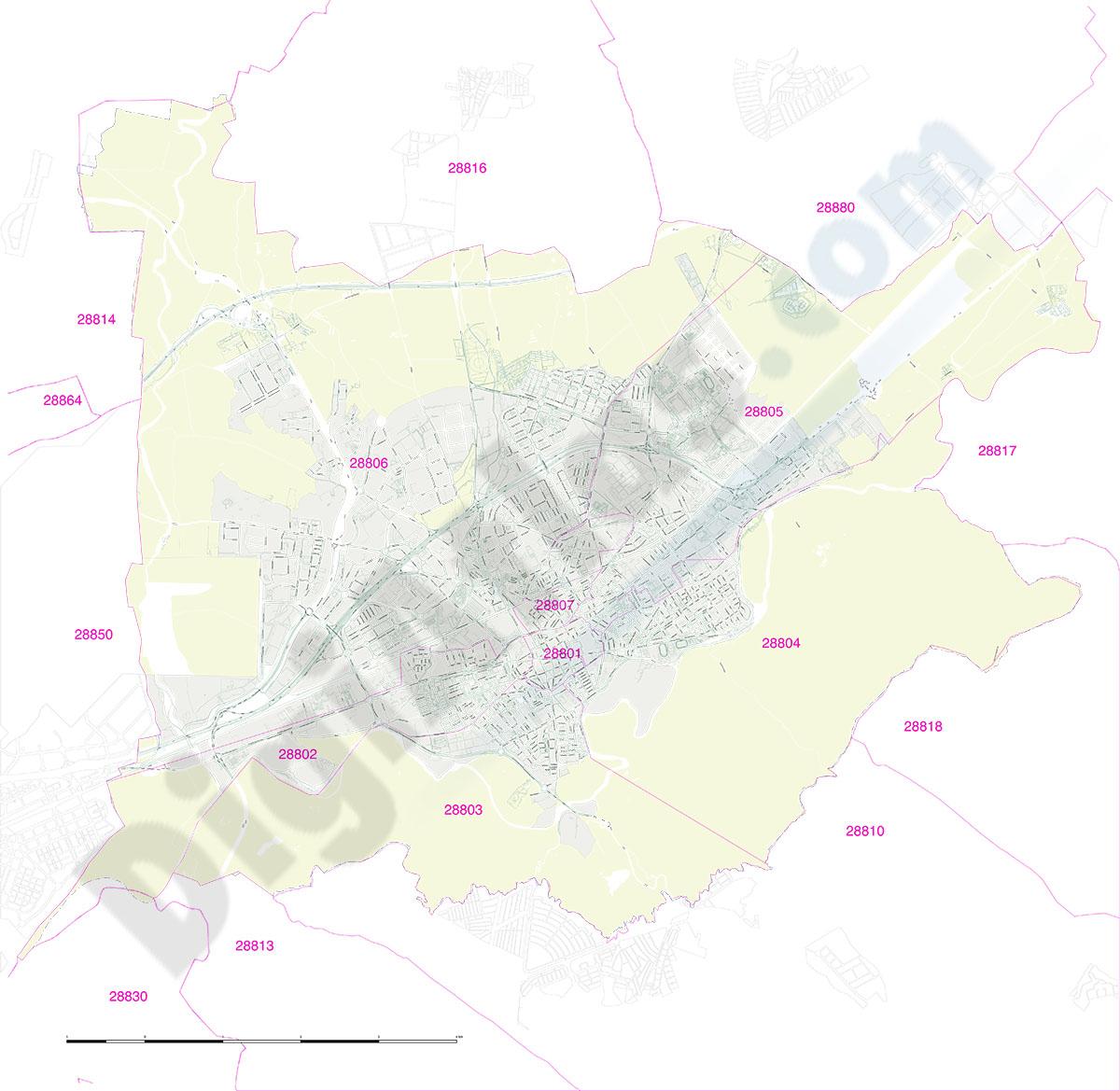 Alcala de Henares city map with postcode districts