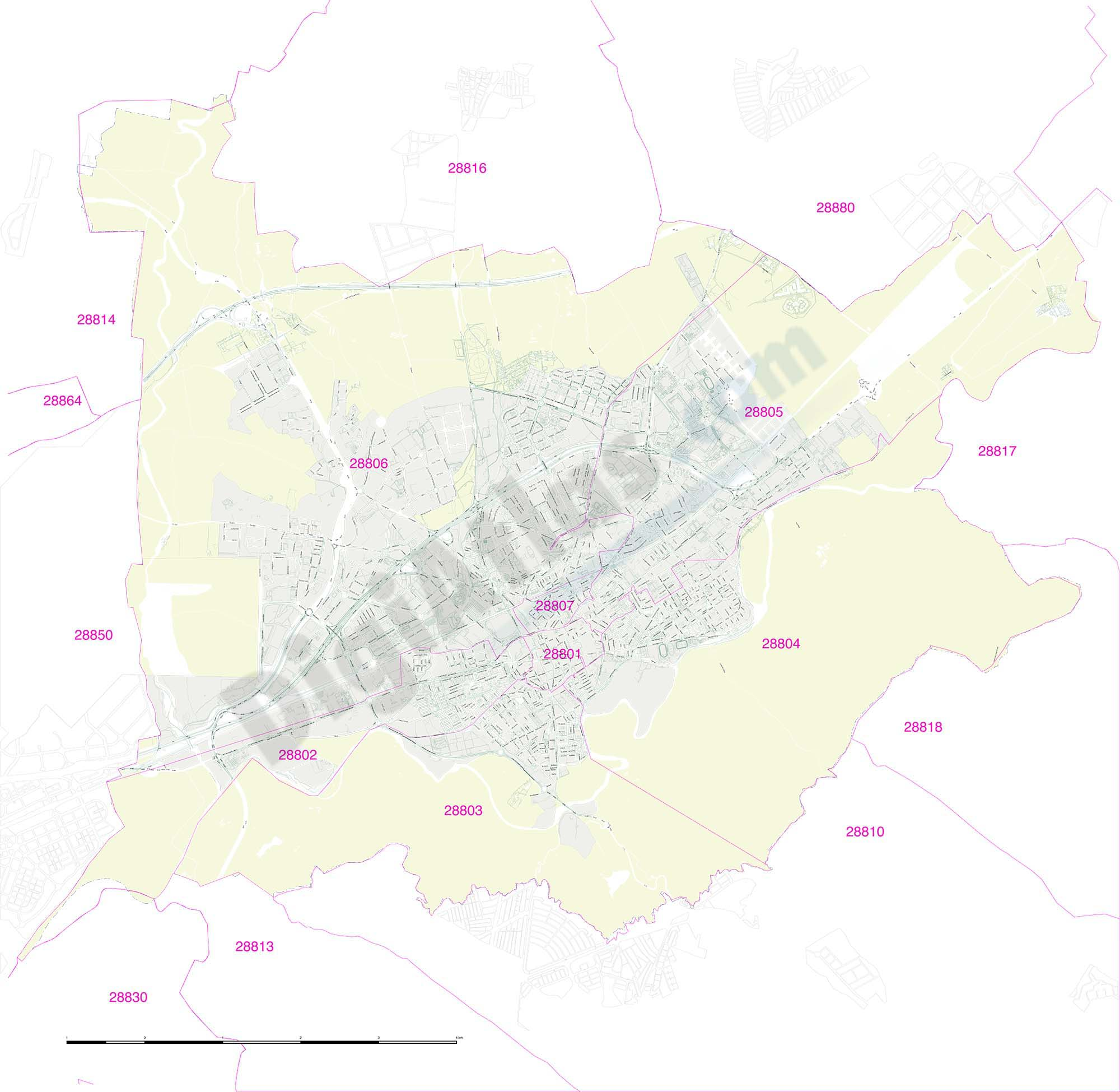 Alcala de Henares city map with postcode districts