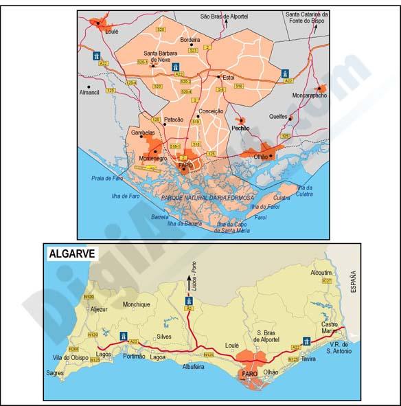 Map of Algarve (Portugal)