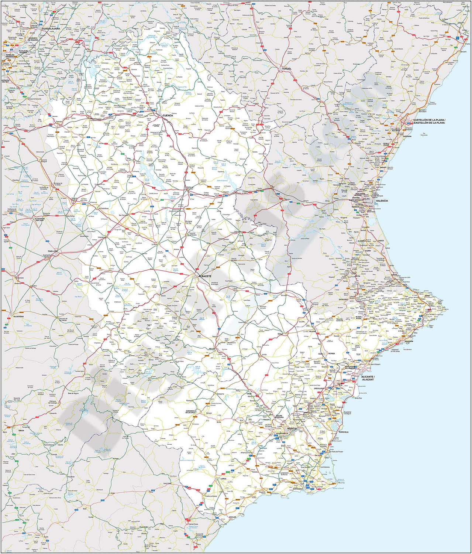 Mapa de carreteras y poblaciones de varias provincias de España