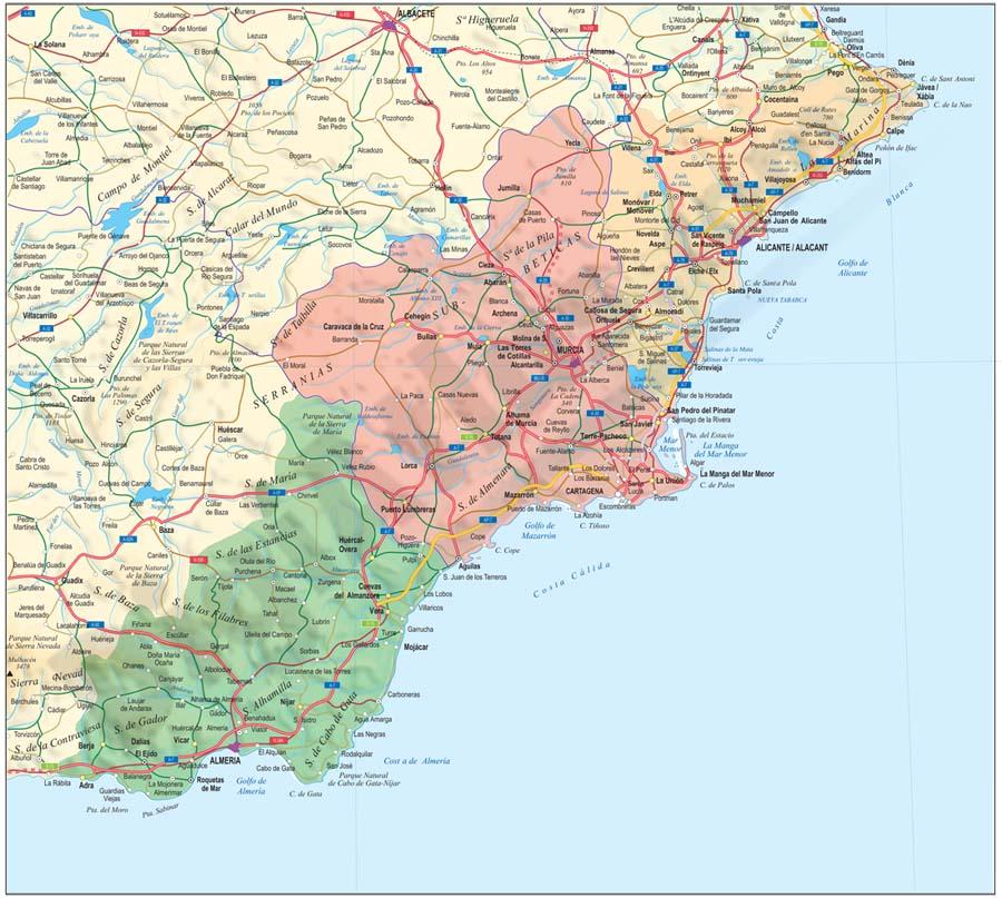 Alicante, Murcia and Almeria map