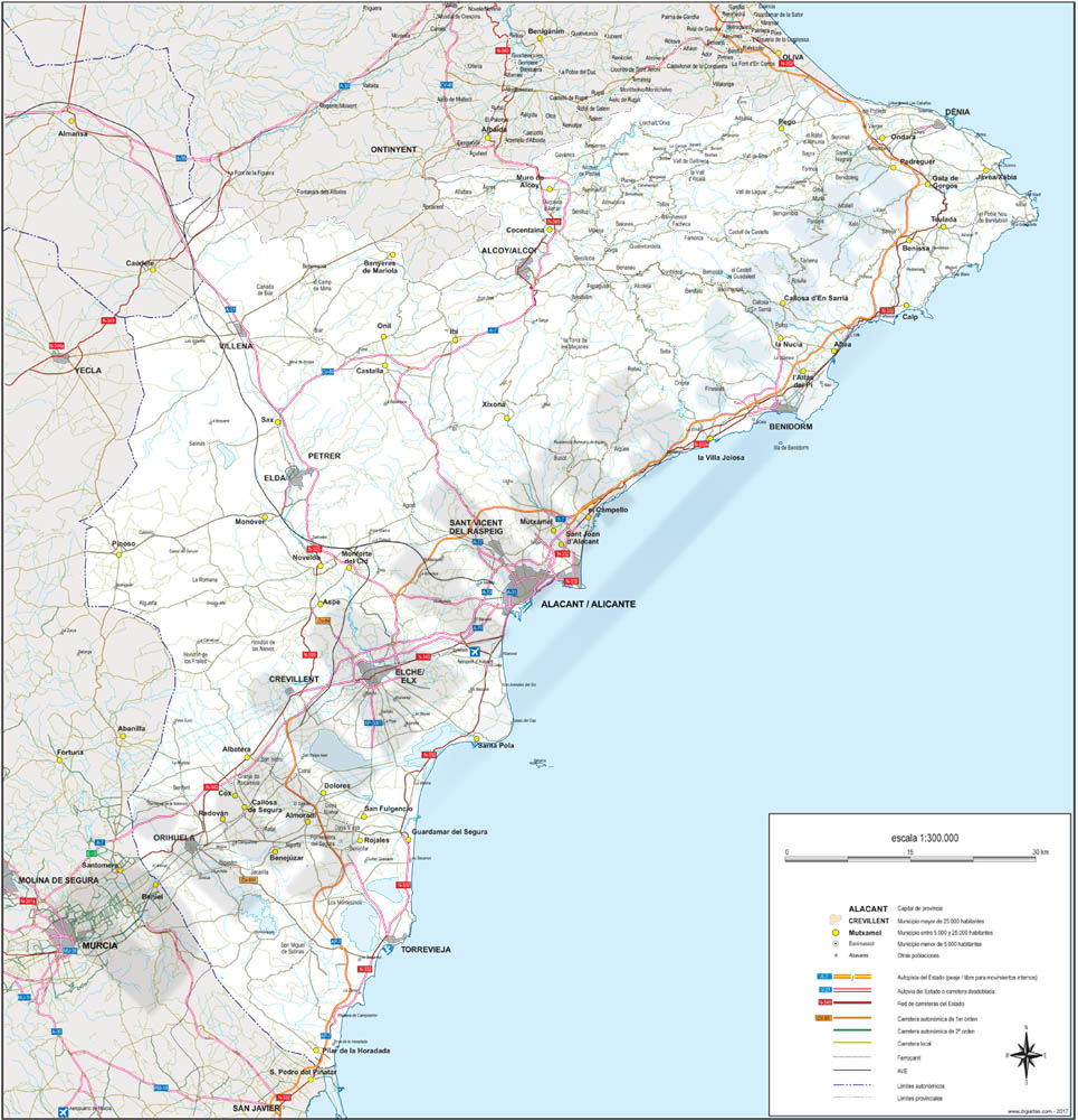 Alicante - Map of province
