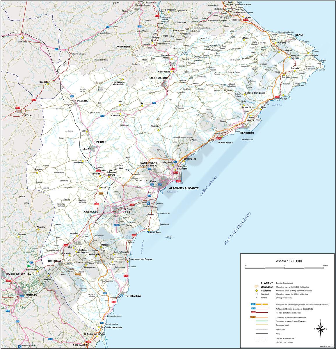 Alicante - Mapa de la provincia