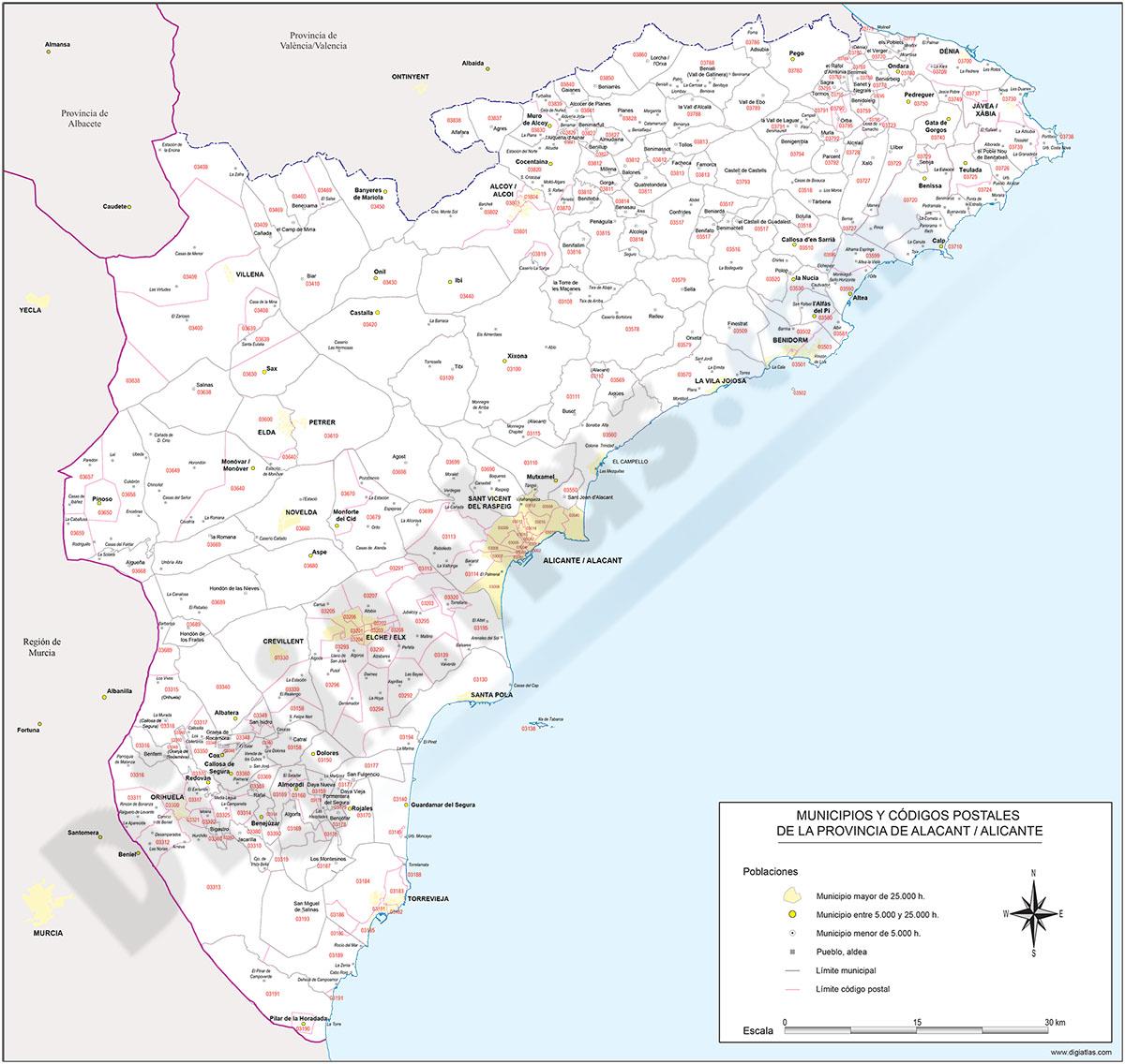 Alicante - mapa provincial con municipios y Códigos Postales