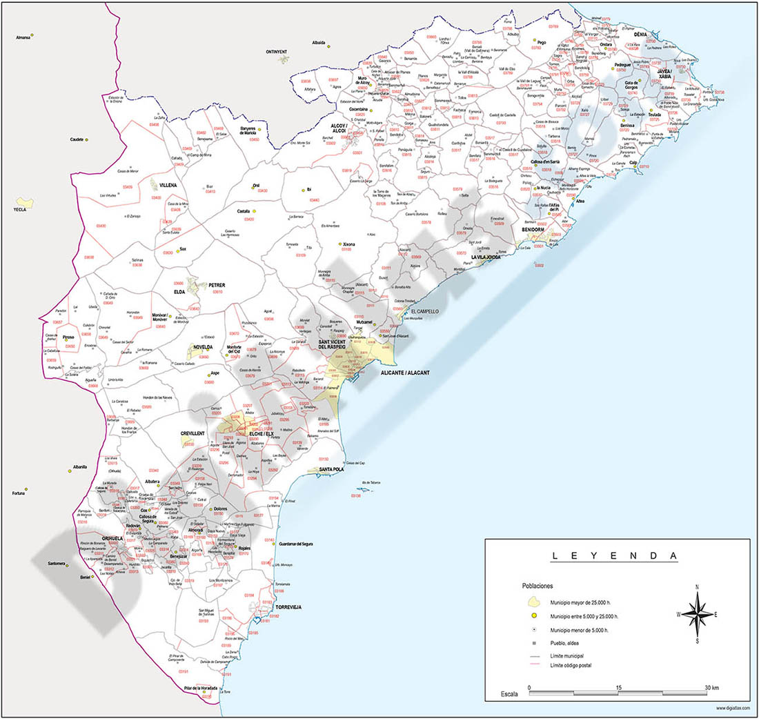 Map of Alicante province with municipalities and postal codes