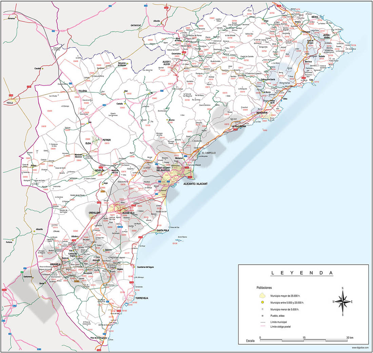 Alicante - mapa provincial con municipios, Códigos Postales y carreteras