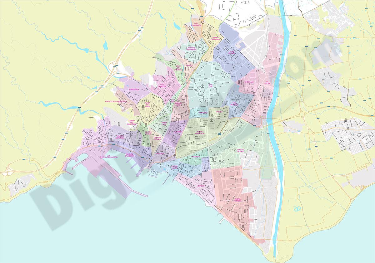 Almeria - city neighbourhoods