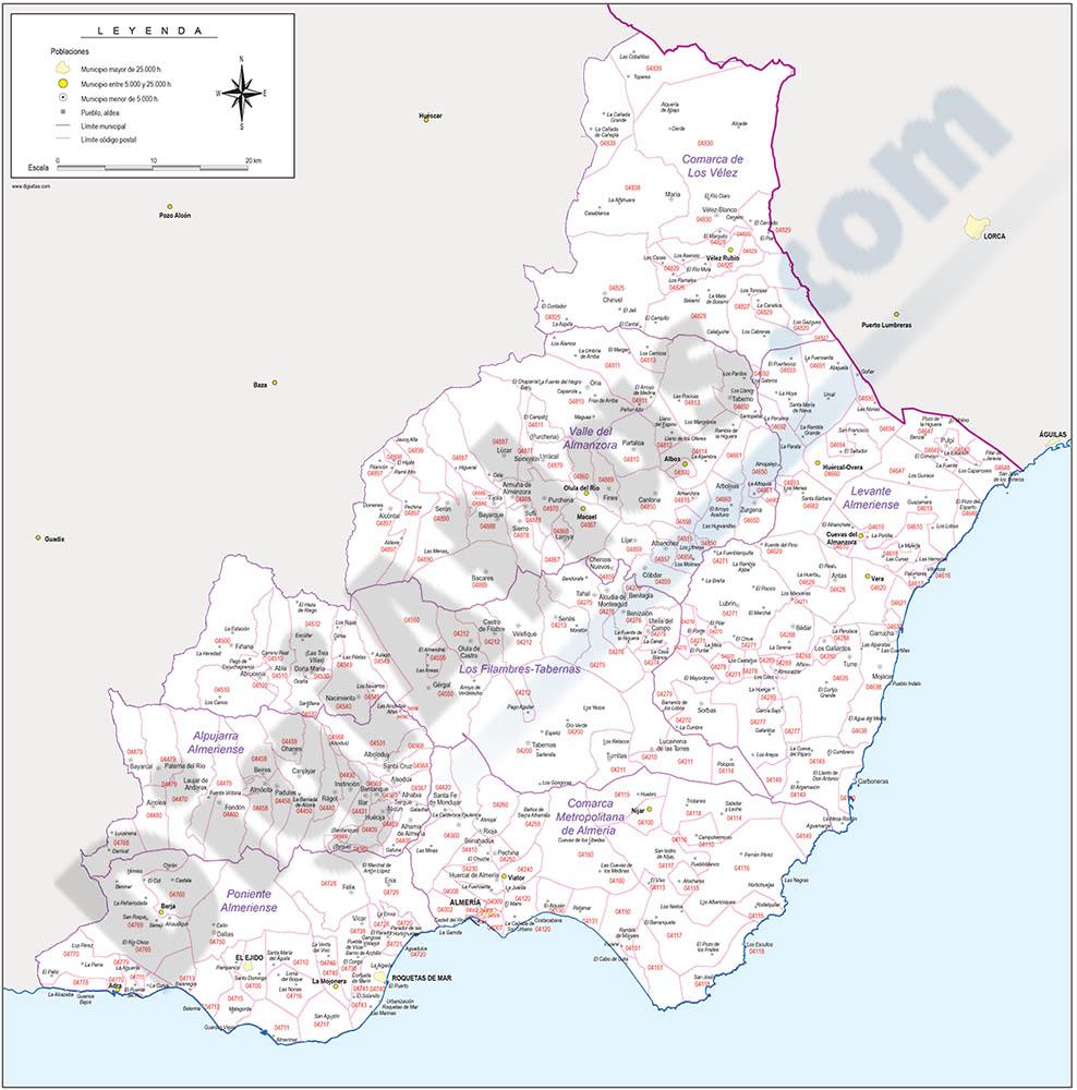Almería - mapa provincial con municipios y Códigos Postales