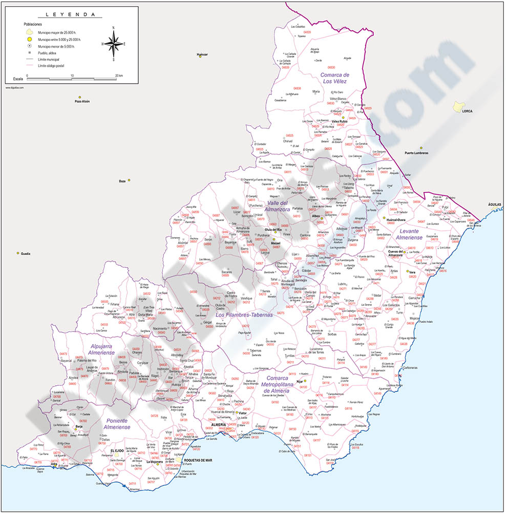 Map of Almeria province with municipalities and postal codes