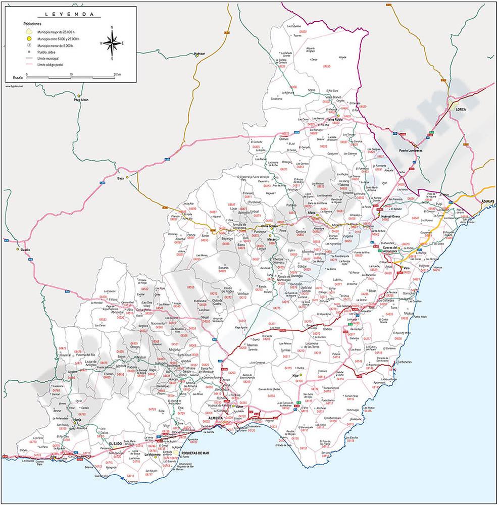 Almería - mapa provincial con municipios, Códigos Postales y carreteras