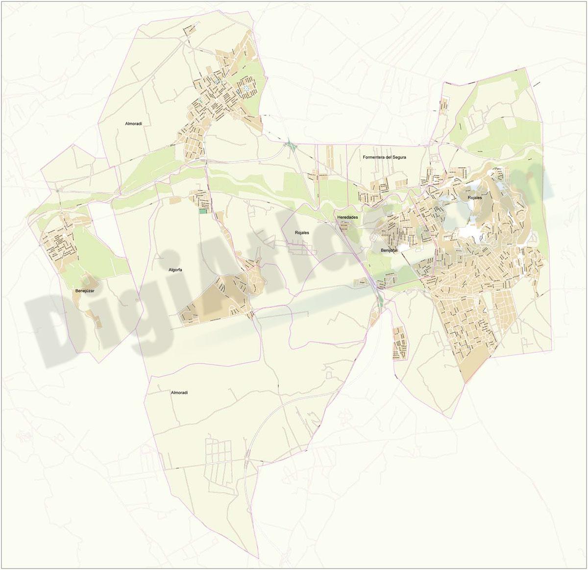 Almoradi and surrounding area - city map
