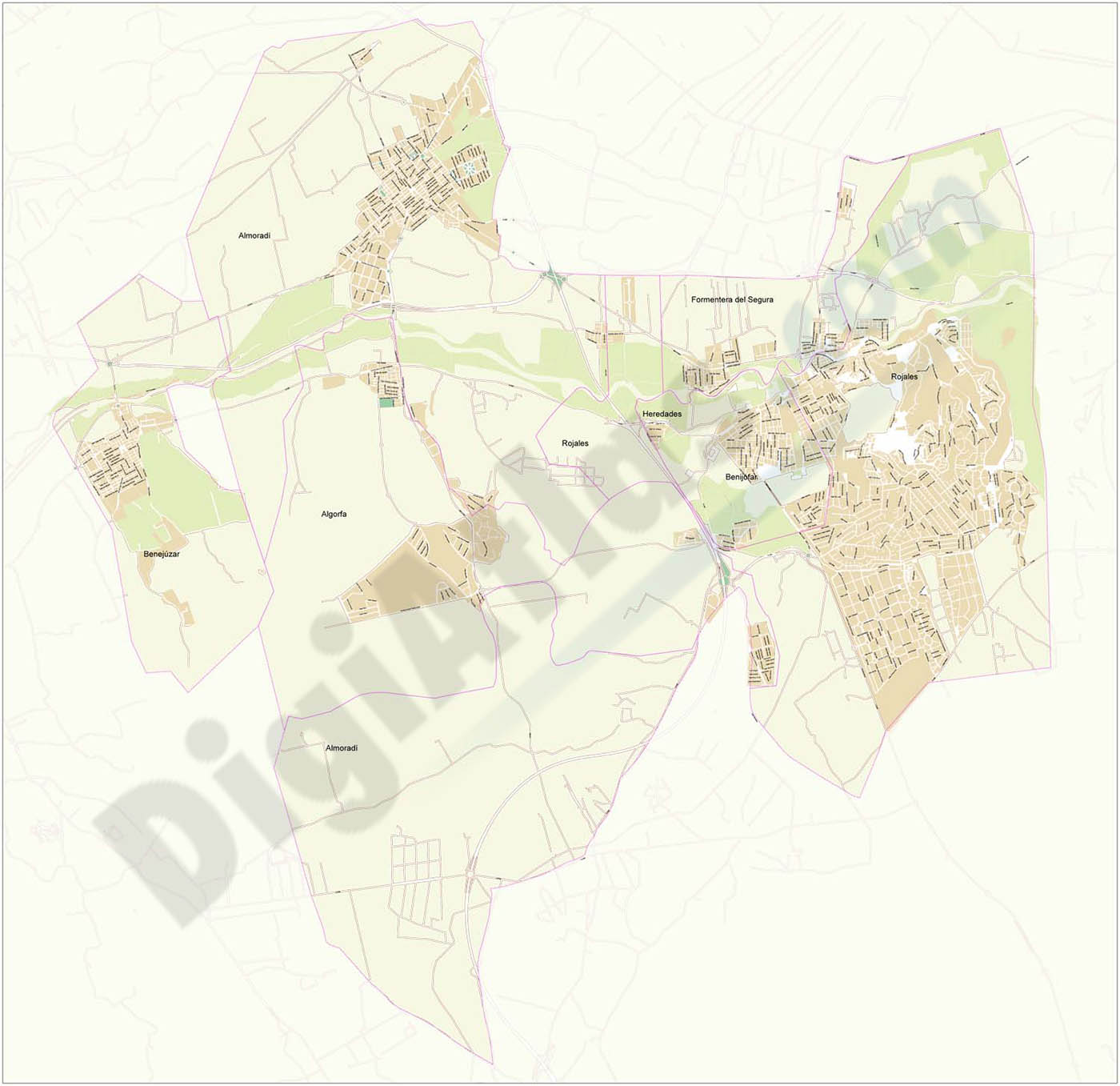 Almoradi and surrounding area - city map
