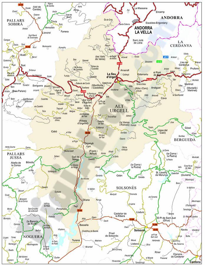 Alt Urgell map (comarca in Catalonia)