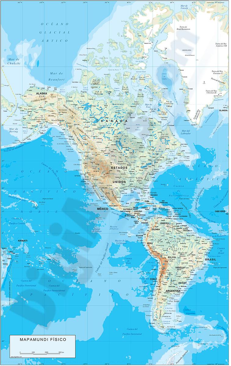 Mapa de América - relieve vectorial