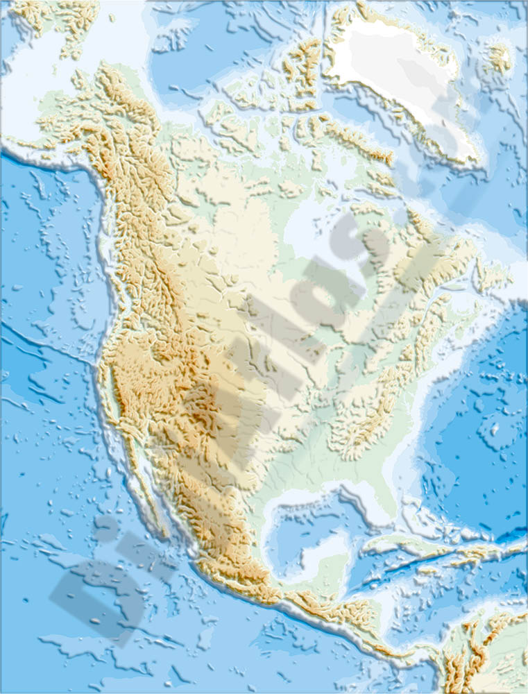 North America physical vectorized-relief map