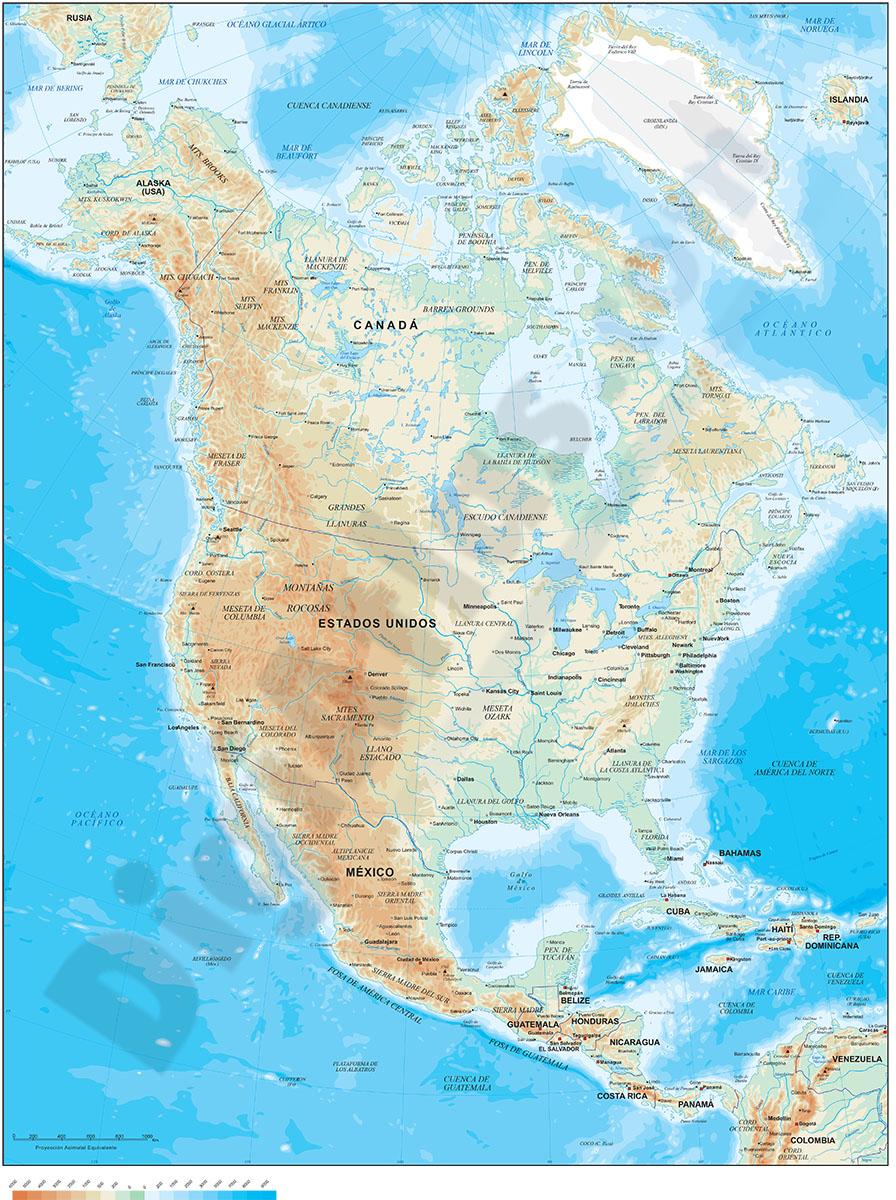 Mapa de América del Norte - relieve vectorial.