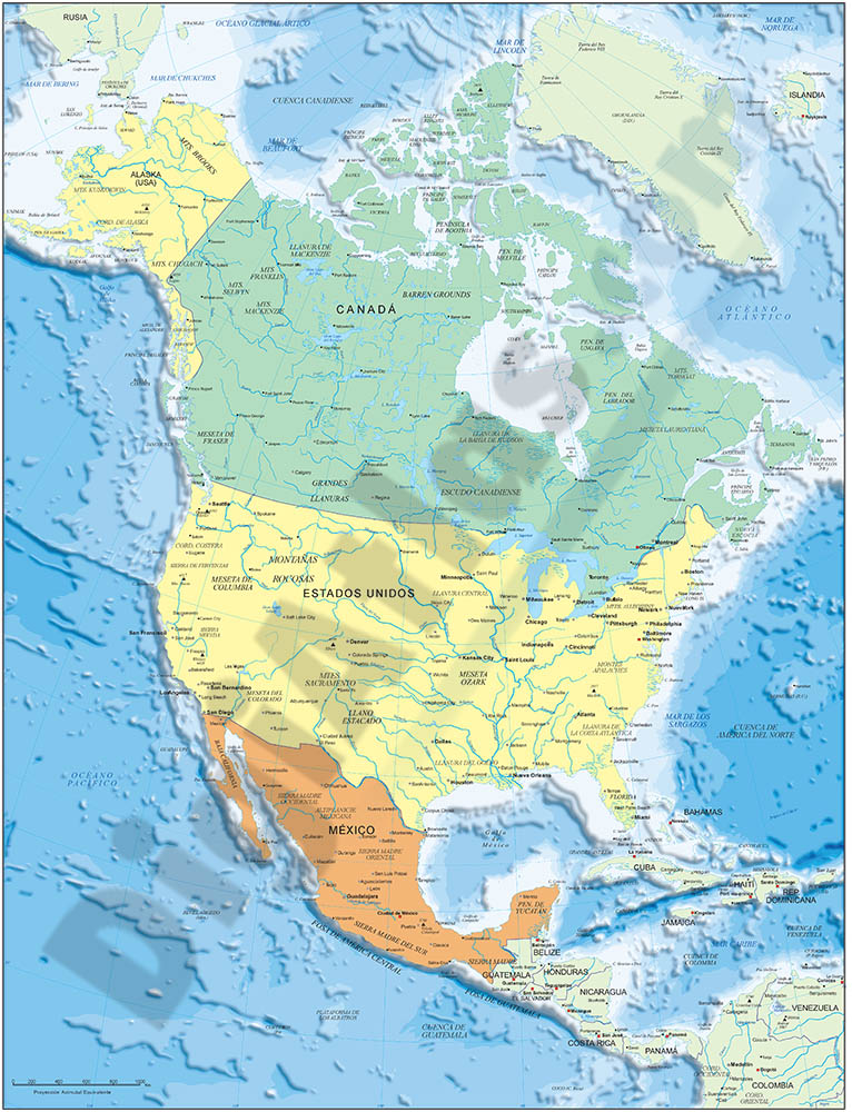 North america political and geographical map