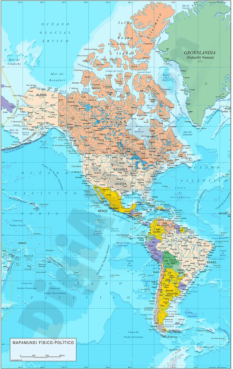 Mapa de América político y geográfico