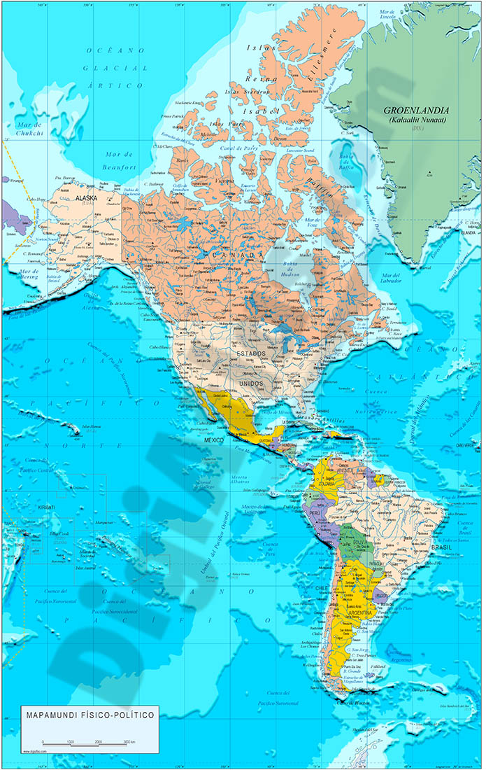 America political and geographical map