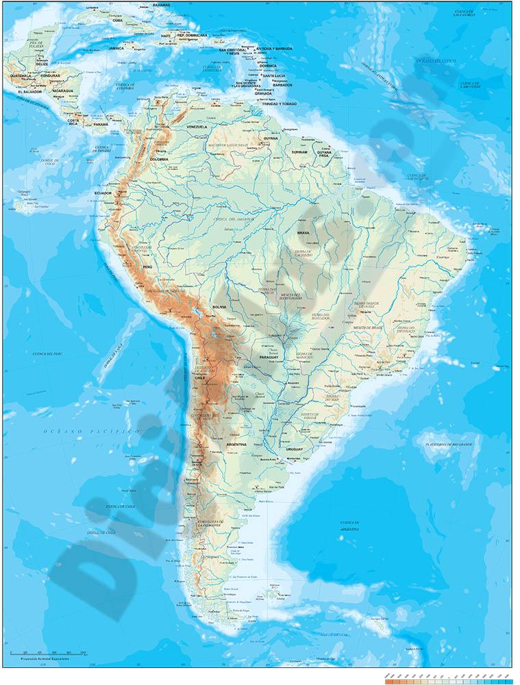 Mapa de América del Sur - relieve vectorial.