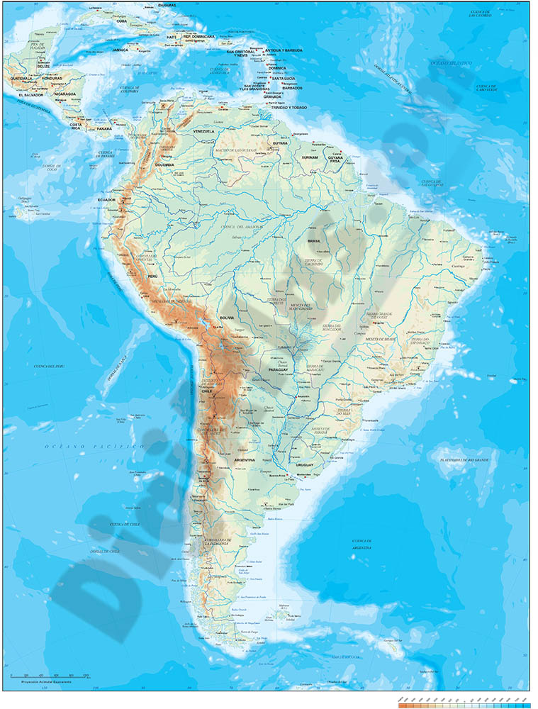 South America physical vectorized-relief map