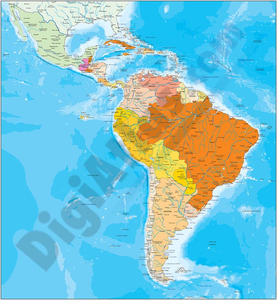 Mapa de América Sur y México político y geográfico