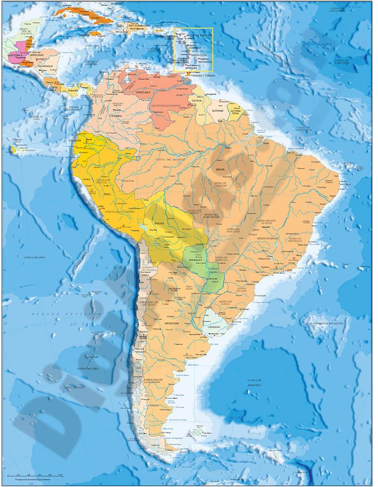 Mapa de América del Sur  político y geográfico