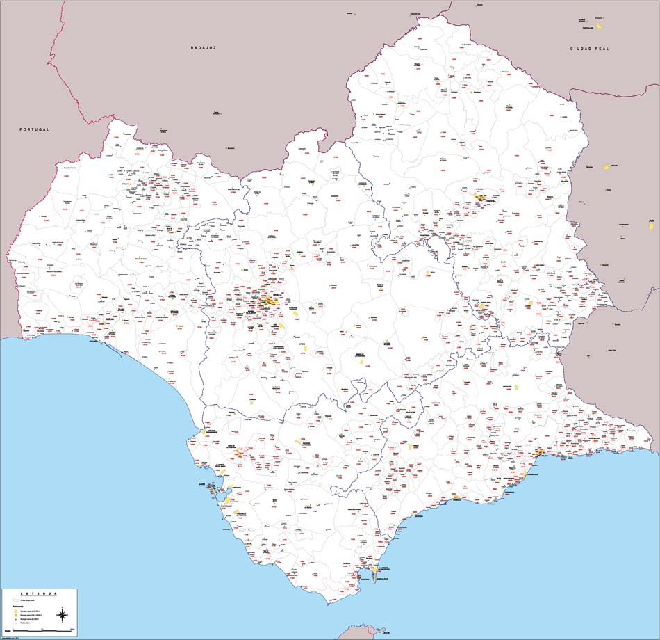 Map of Western Andalucia with municipalities and postal codes