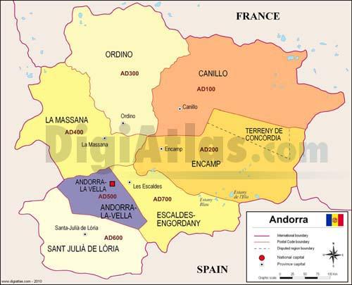 Mapa de Andorra con regiones y codigos postales