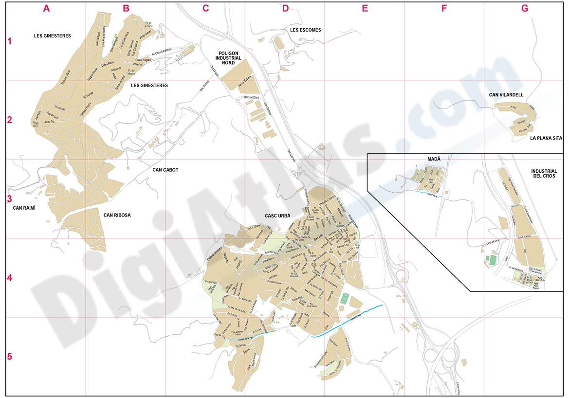 Argentona (Barcelona, Spain) - city map