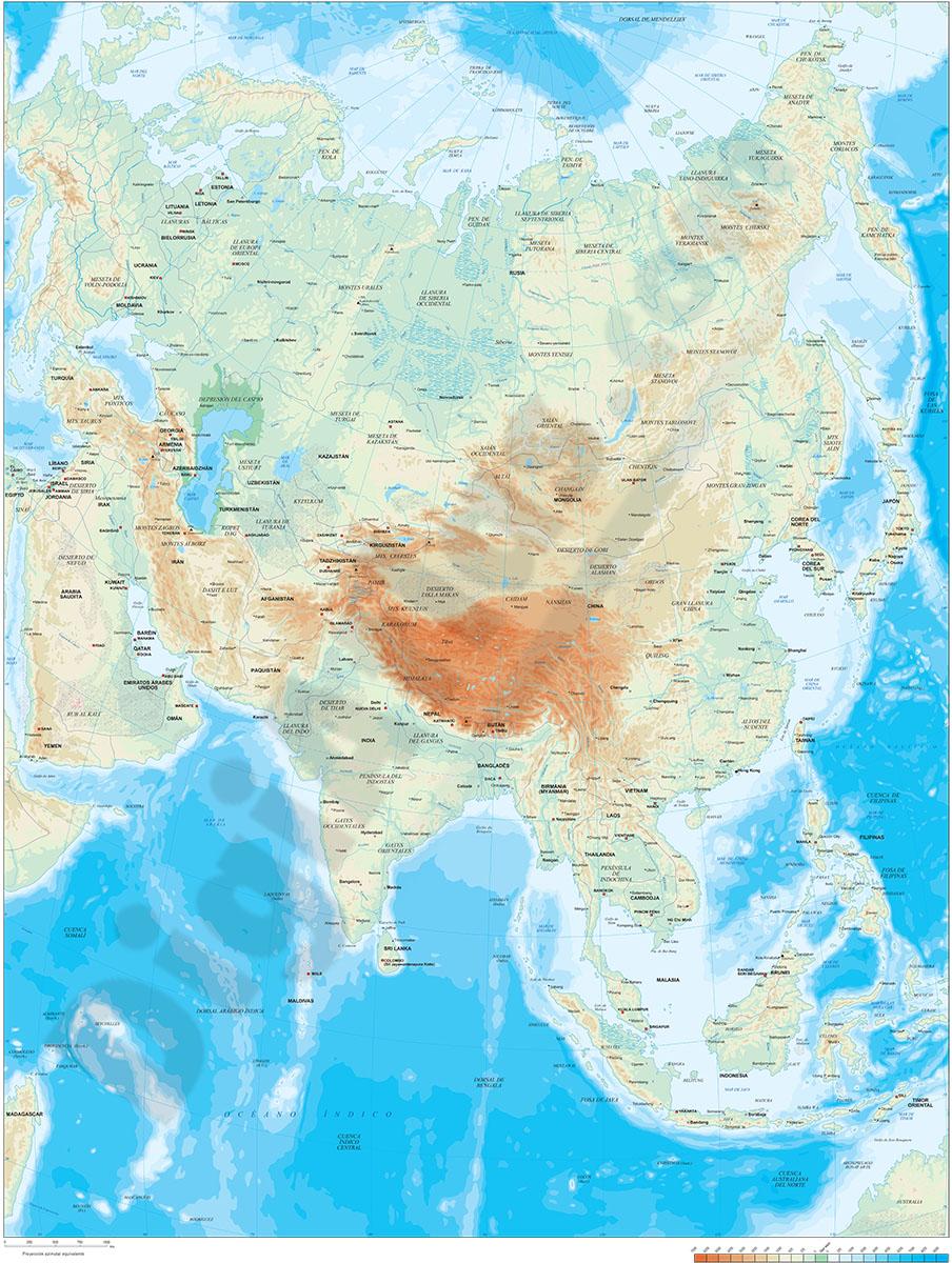 Mapa de Asia - relieve vectorial.