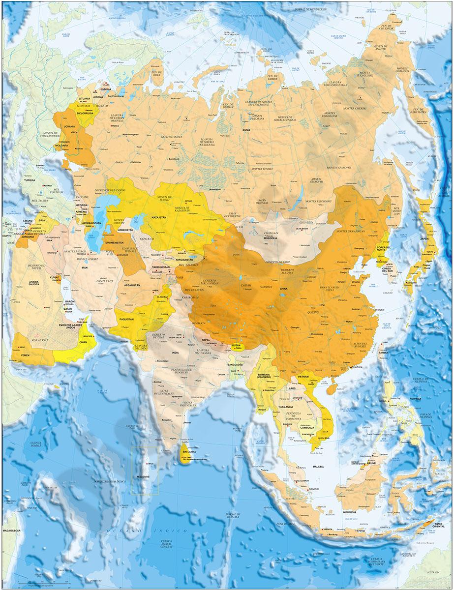 Mapa de Asia político y geográfico