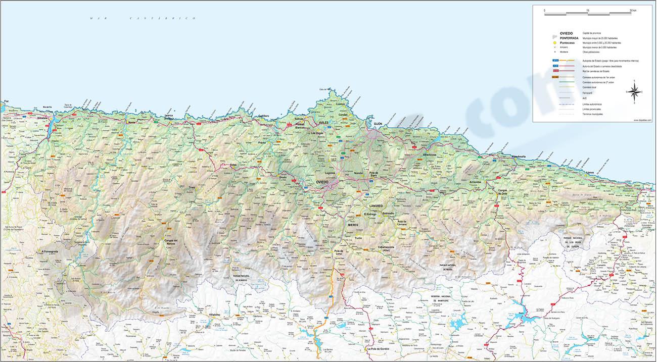 Asturias - Mapa del Principado