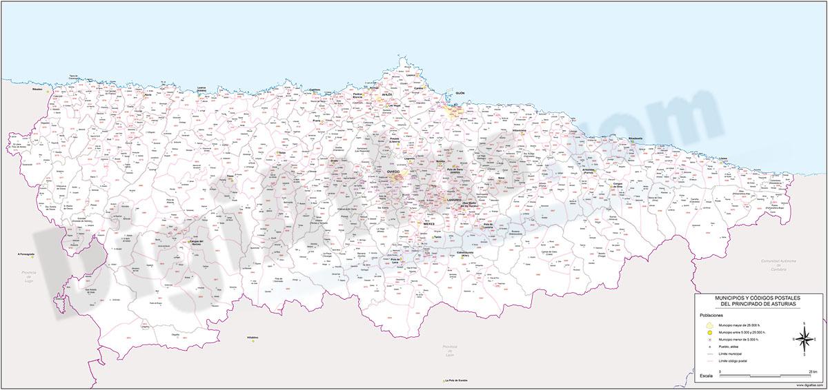 Map of Asturias autonomous community with municipalities and postal codes