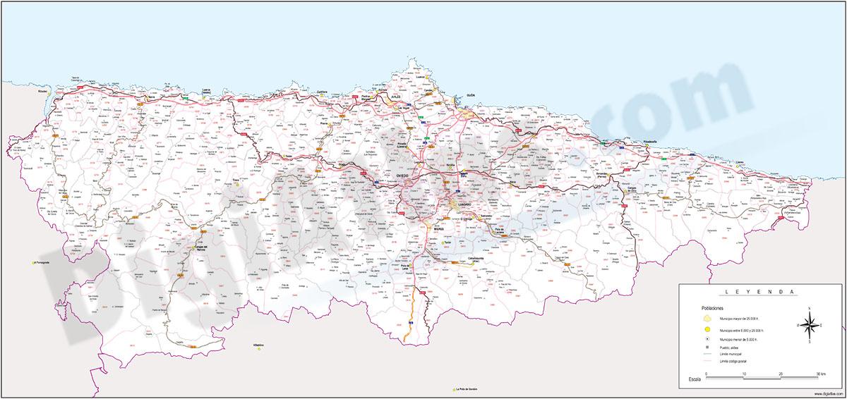 Asturias, Principado de - mapa autonómico con municipios, códigos postales y carreteras