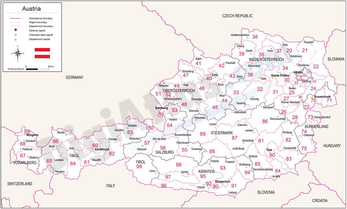 Mapa de Austria con regiones y codigos postales