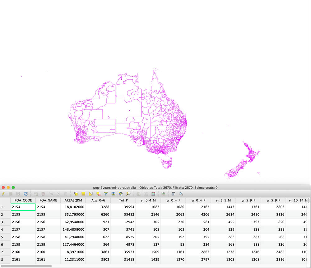 Australia and New Zealand zip code map with total population and aged 0-6 years.
