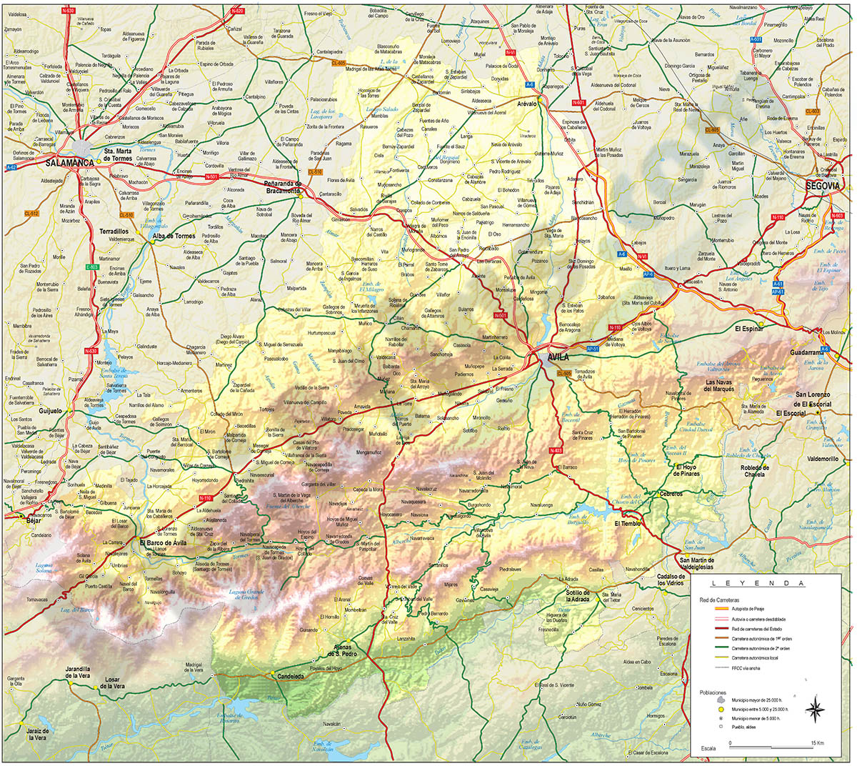 Mapa de la provincia de Avila