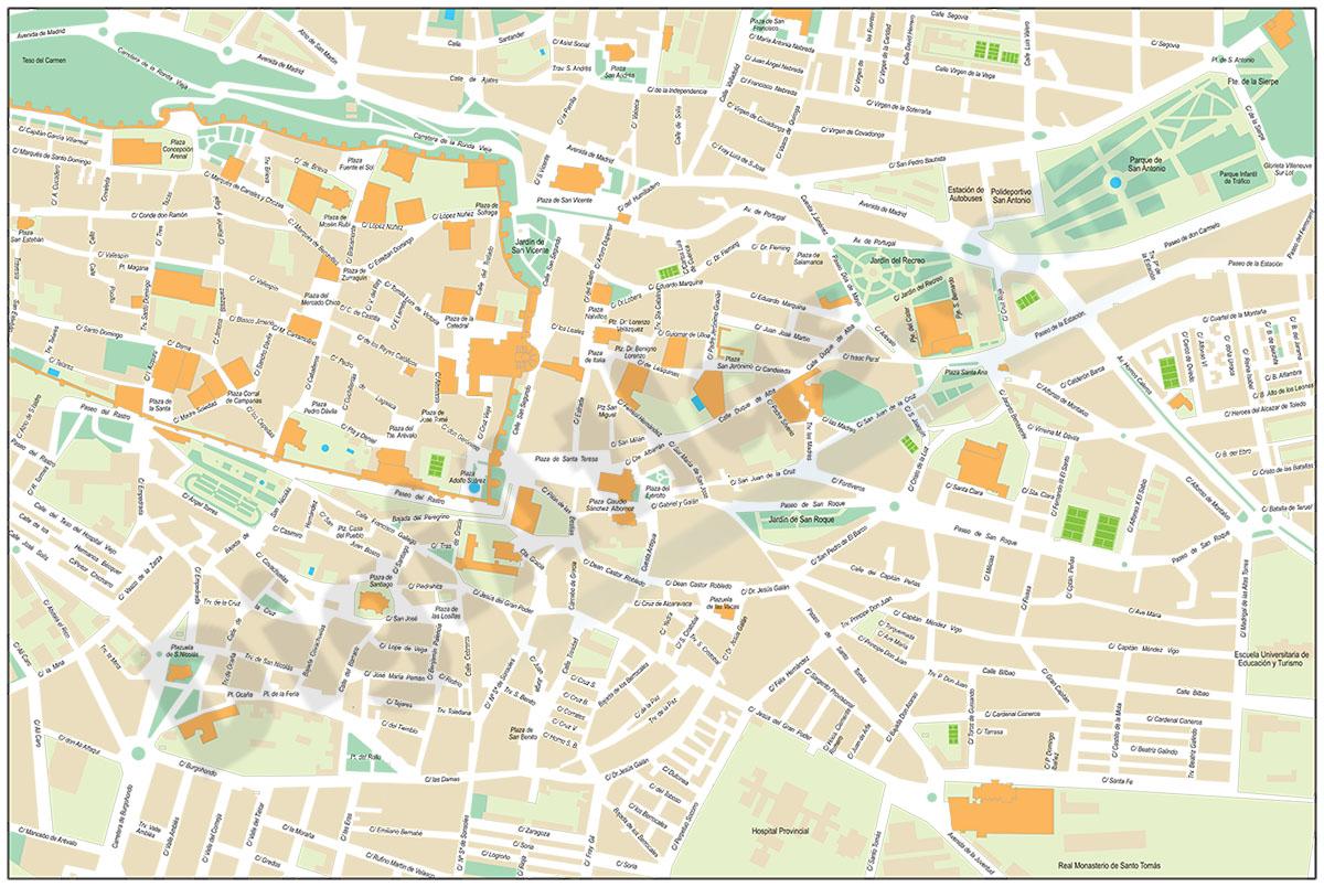 Ávila - plano del centro