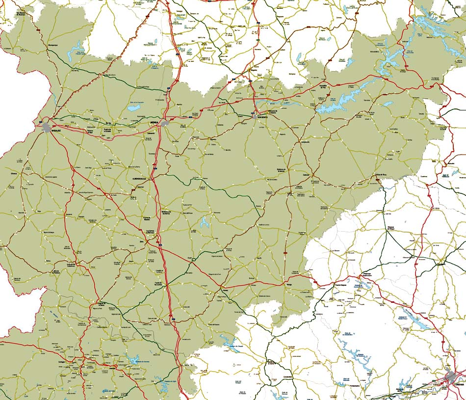 Mapa de la provincia de Badajoz